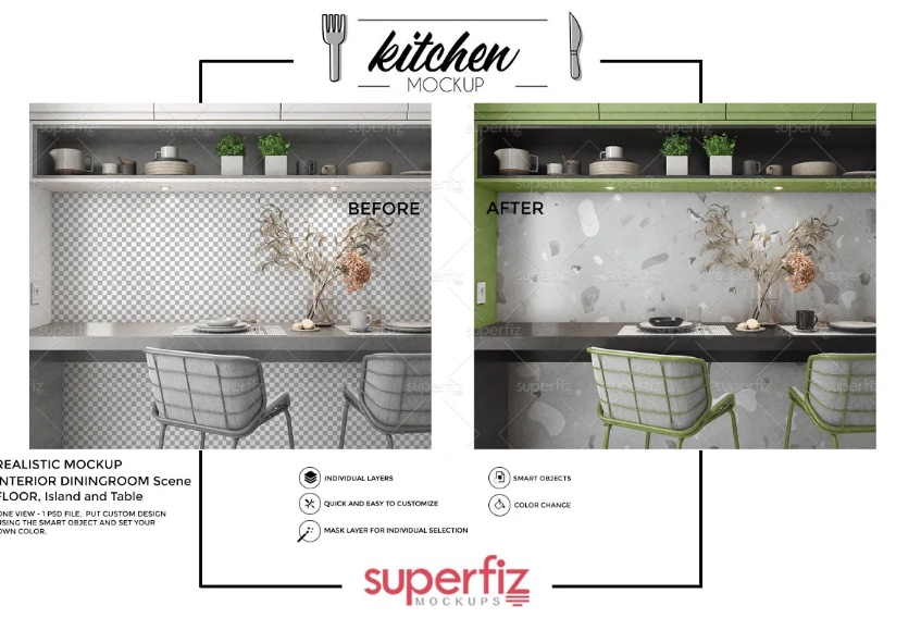 Professional Kitchen Tiles and Cupboard Mockup