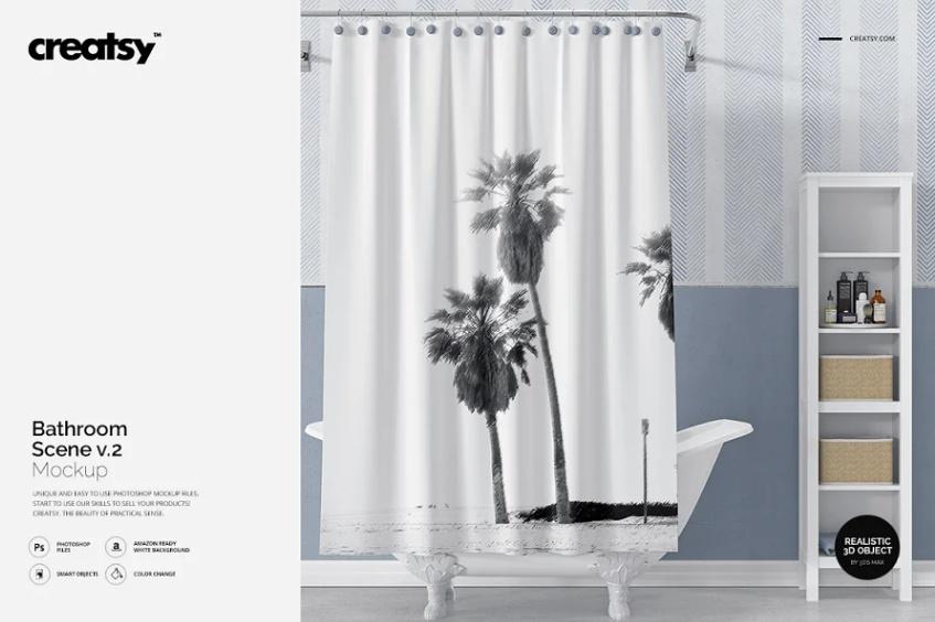 Realistic Bath Curtain Mockup