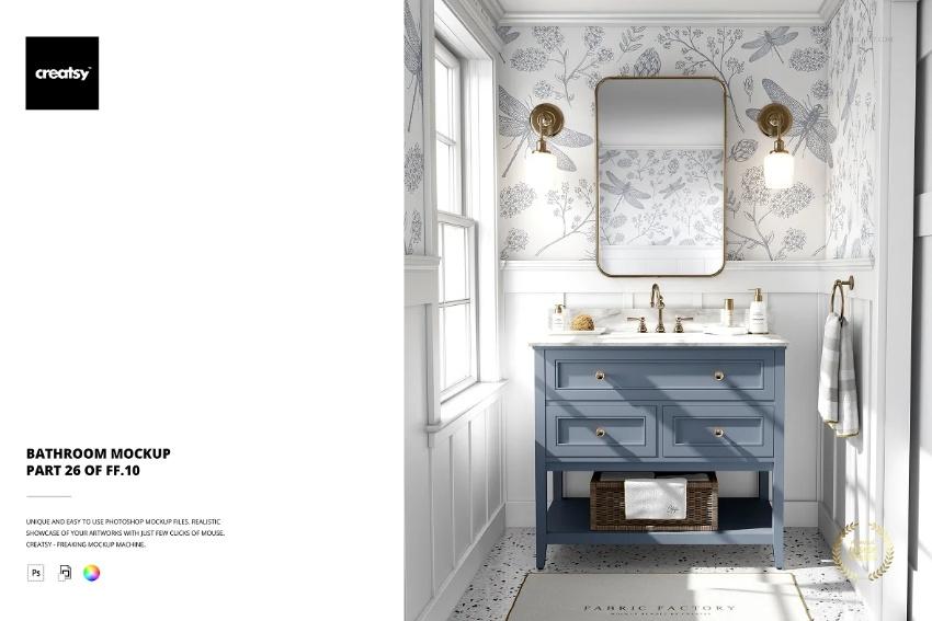 Realistic Bathroom Scene Mockup
