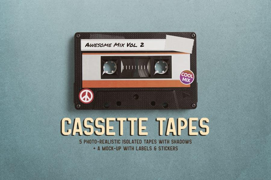 Realistic Cassette Branding PSD