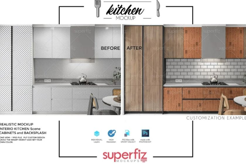 Realistic Kitchen Scene Mockup