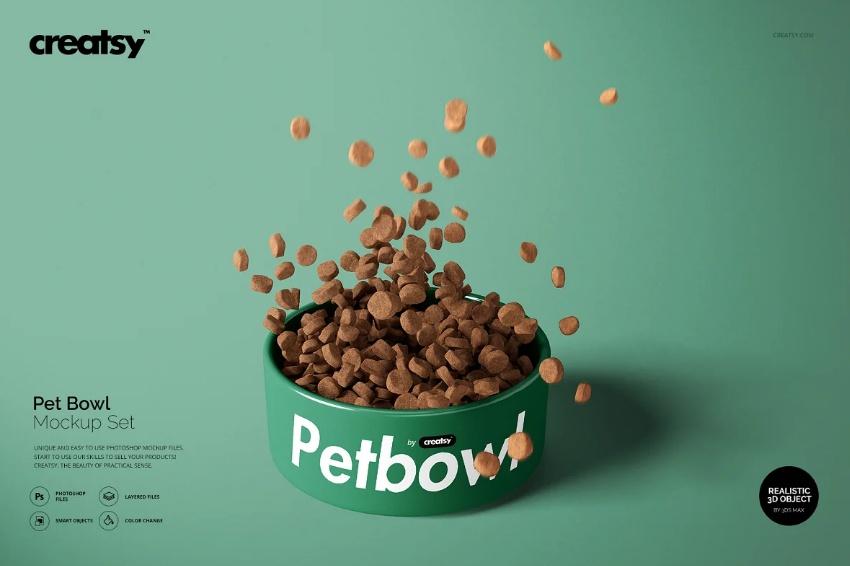 Realistic Pet Bowl Mockup PSD