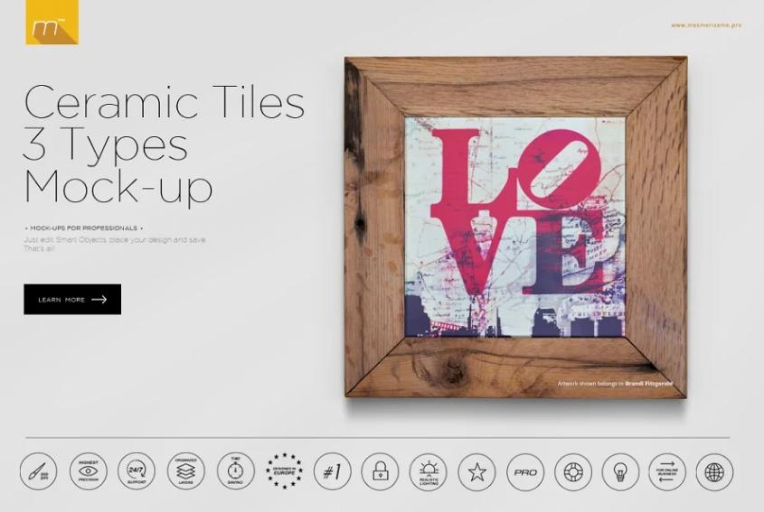 Simple Tile Mockup PSD