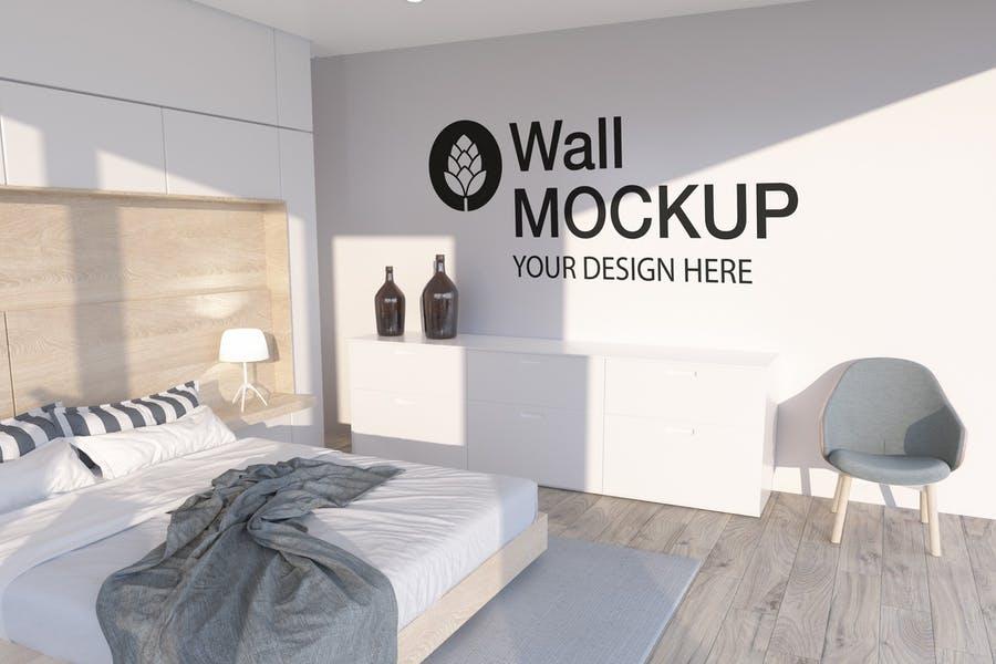 Simple Tiled Wall Mockup PSD
