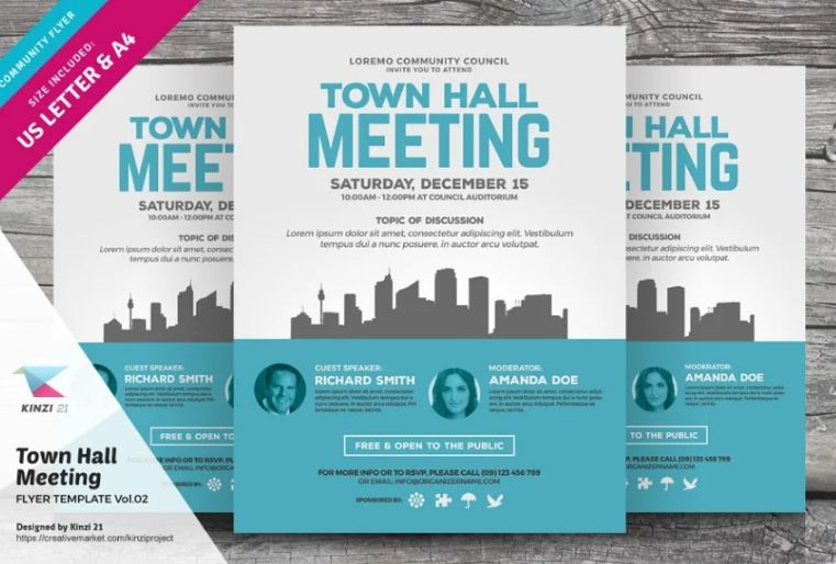 Town Hall Meeting Flyer PSD