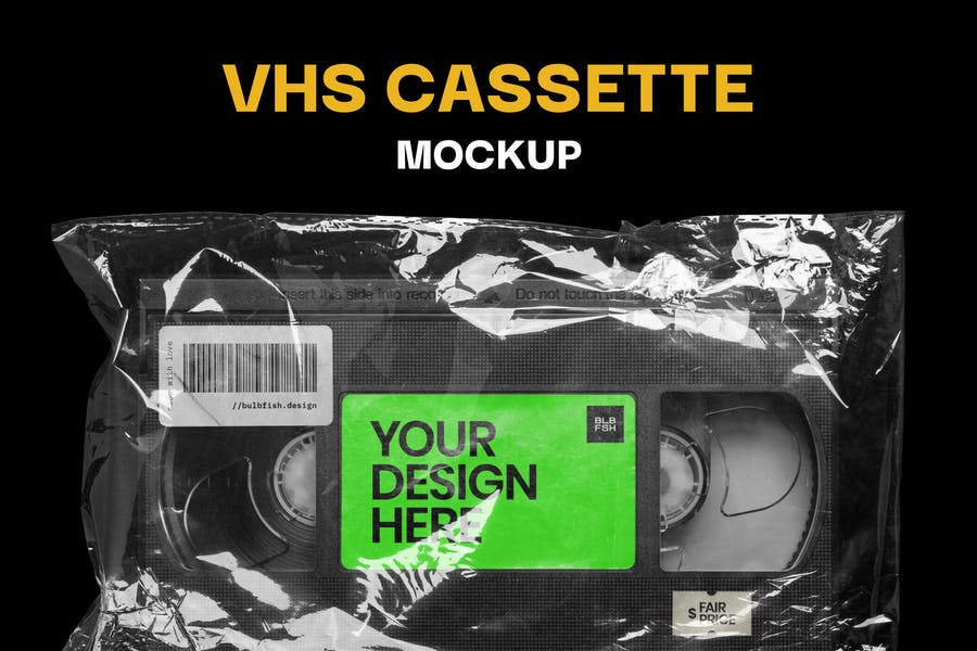 VHS Cassette Branding Mockup