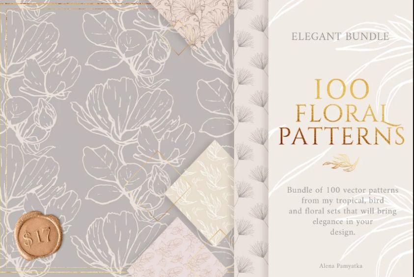 100 Elegant Floral Patterns Bundle