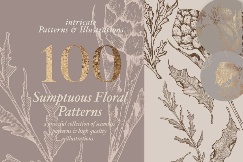 100 Floral Patterns and Illustrations