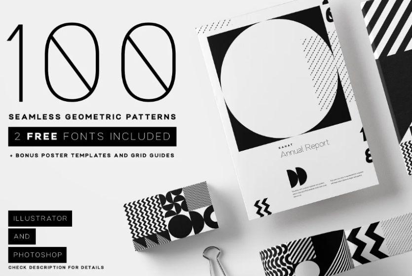 100 Seamless Geometric Vector Designs