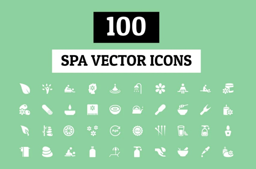 100 Spa Therapy Icons set