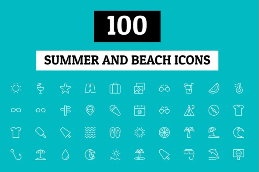 100 Summer and Beach Vector Icons
