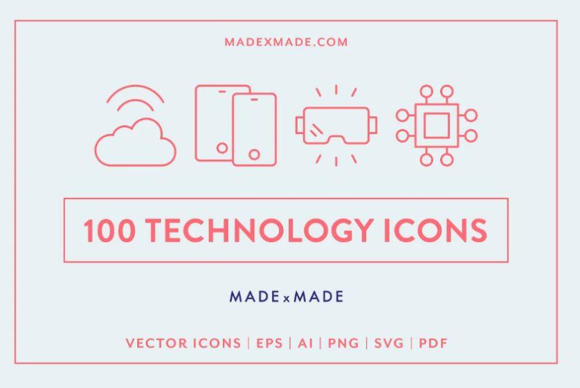 100 Unique Technology Icons