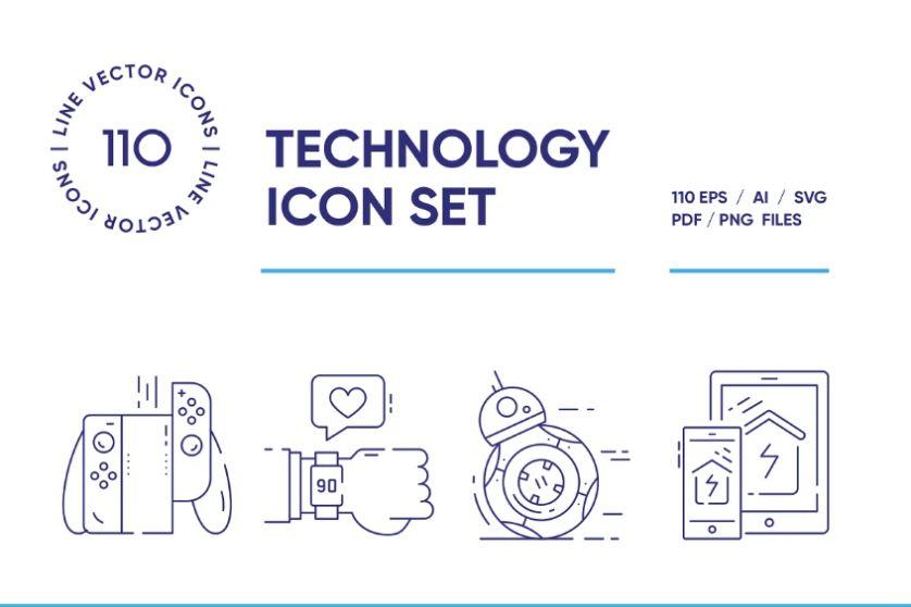 110 Unique Technology Icons Set