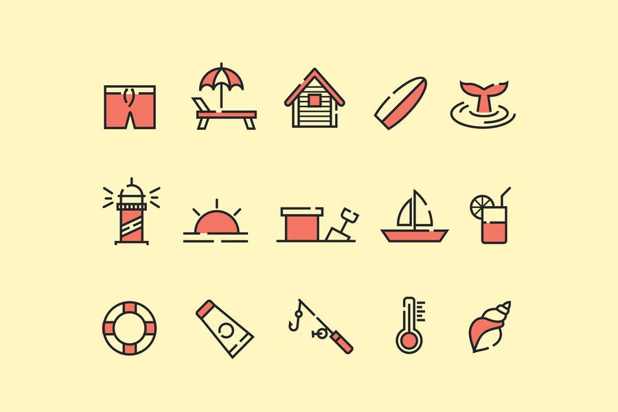 15 Lined Beach Vector Elements
