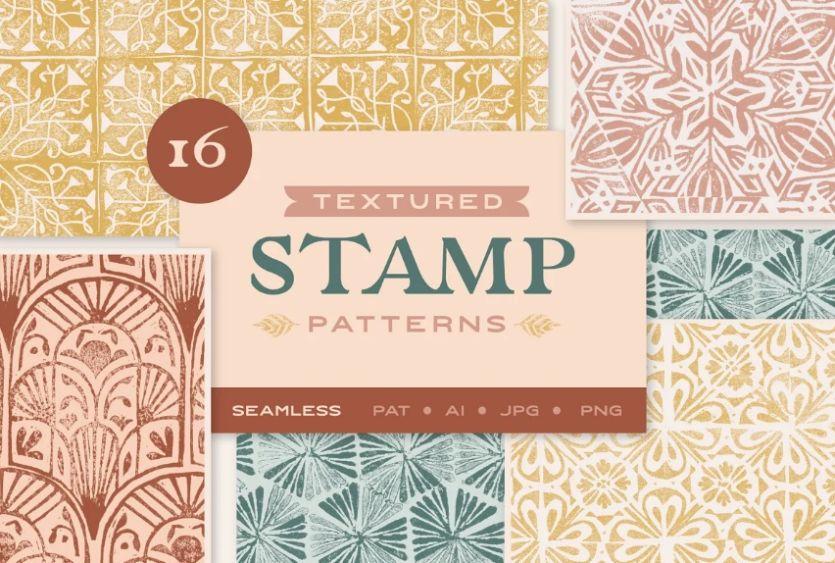 16 Seamless Textured Stamp Patterns