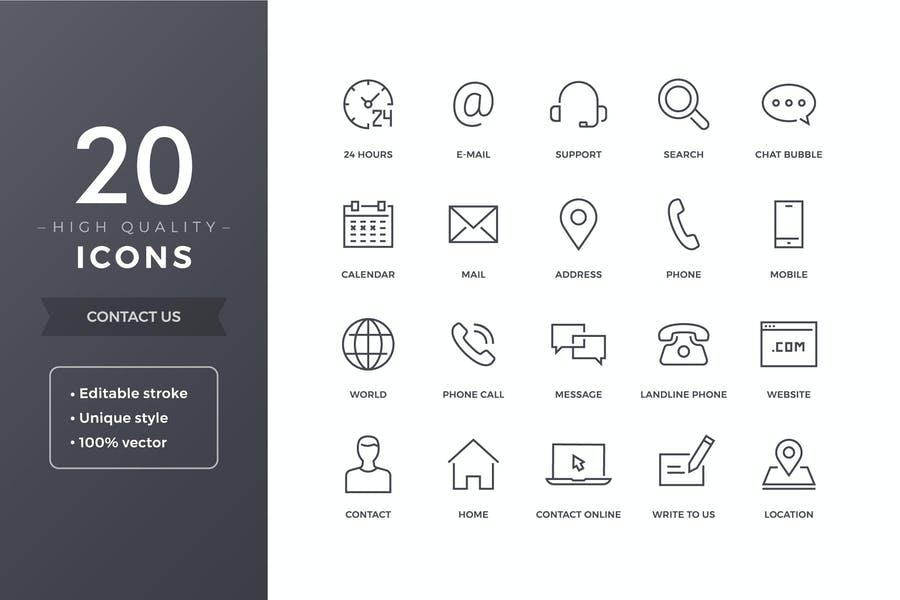 20 Editable Illustration Icons