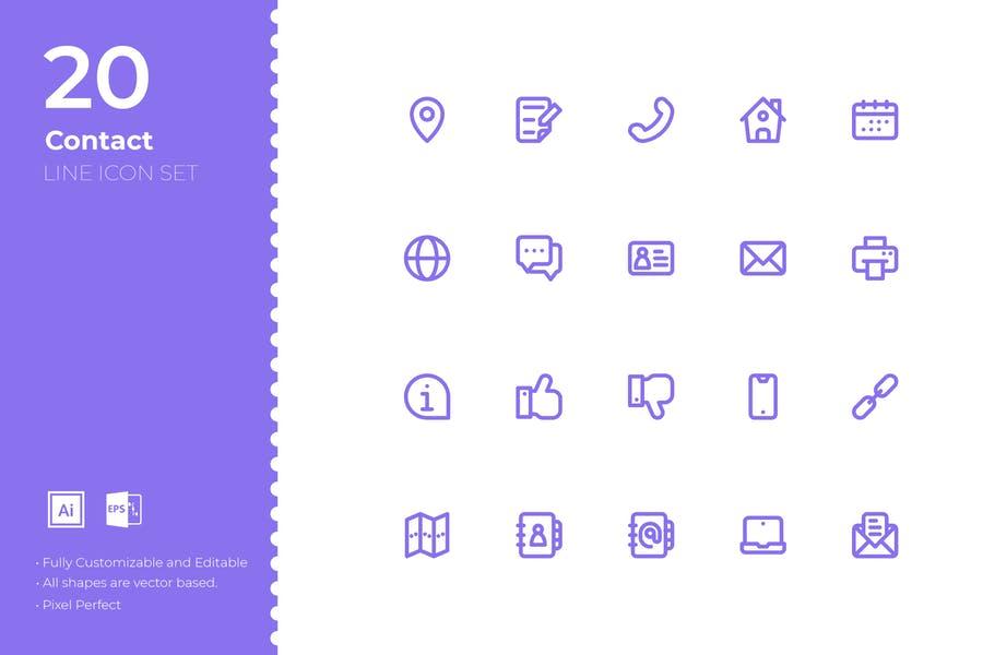 20 Line Icons Set