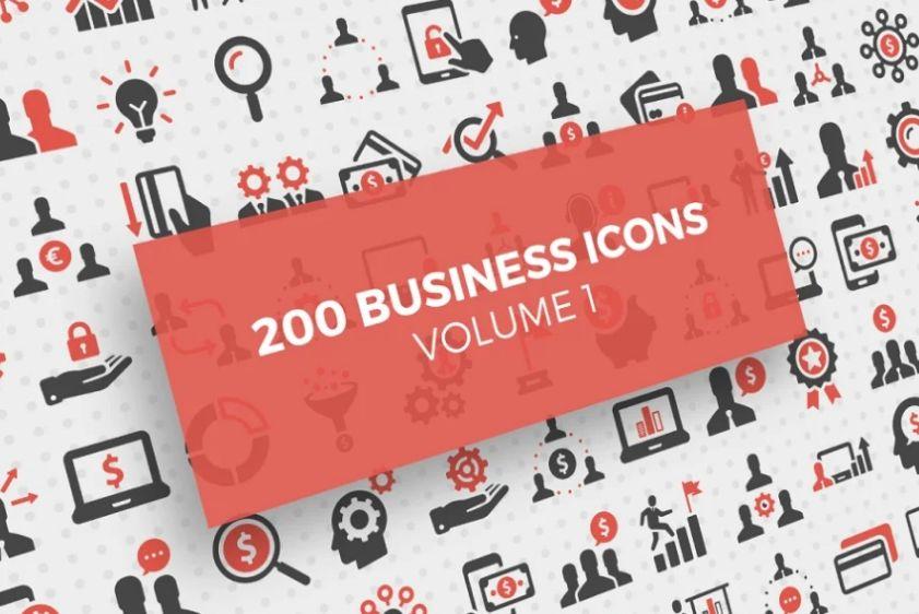 200 Unique Corporate Icons Set