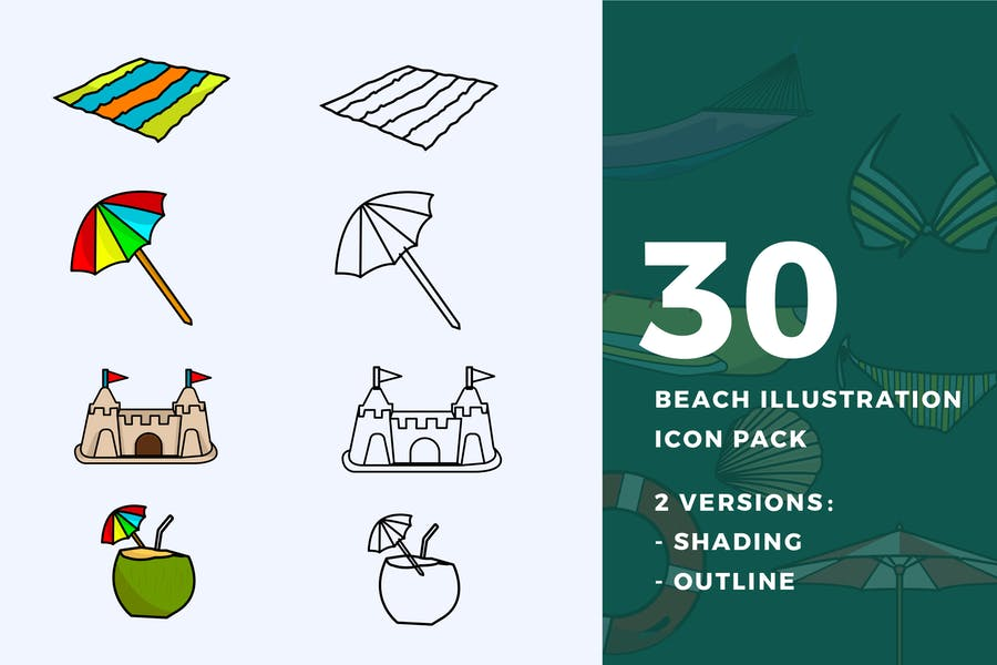 30 Beach Vector Illustrations