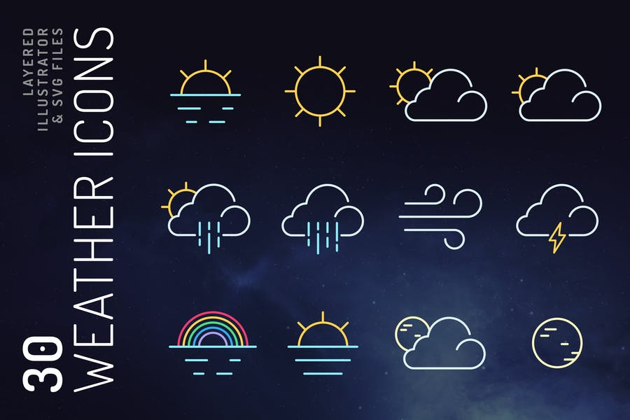30 Lined Weather Icons Set