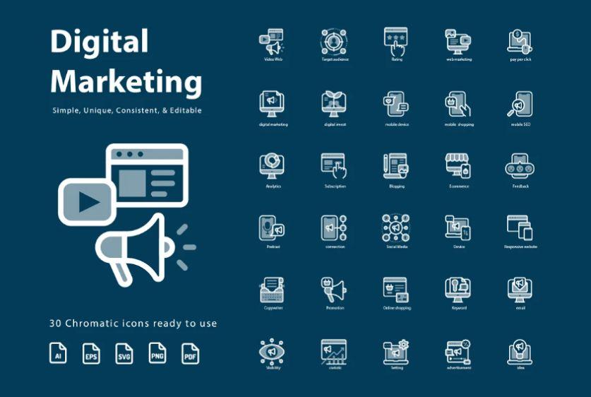 30 Simple Chromatic Marketing Icons