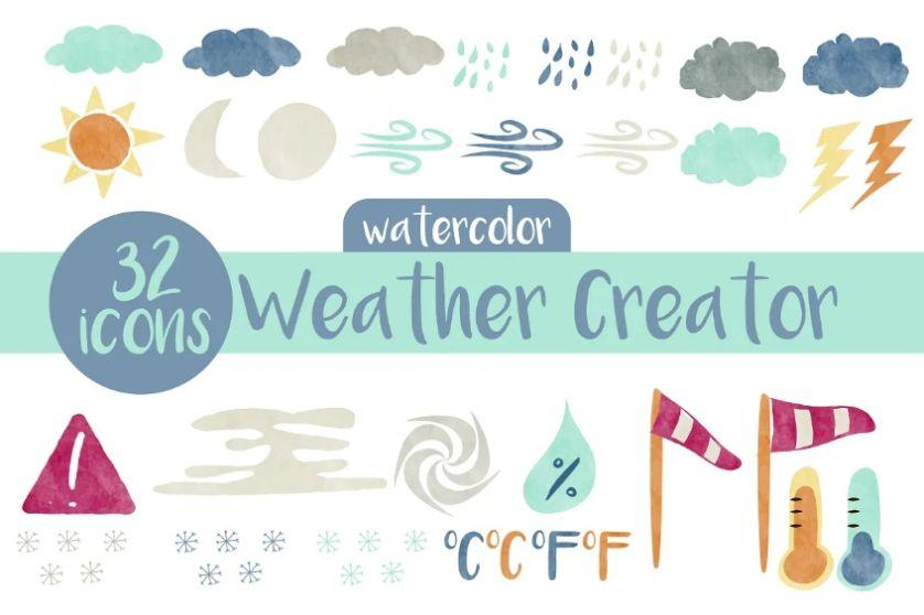 32 Watercolor Graphic Vectors