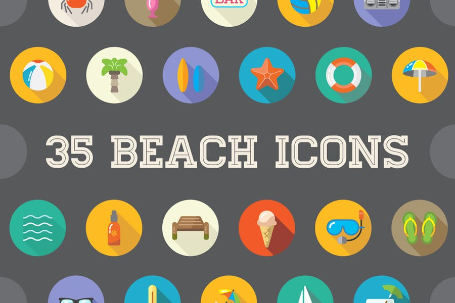 35 Flat Beach Icons Elements