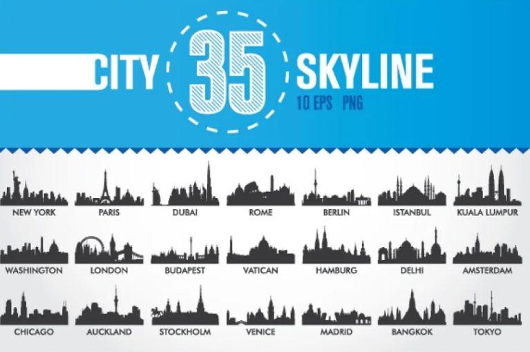 35 Skyline Building Vectors