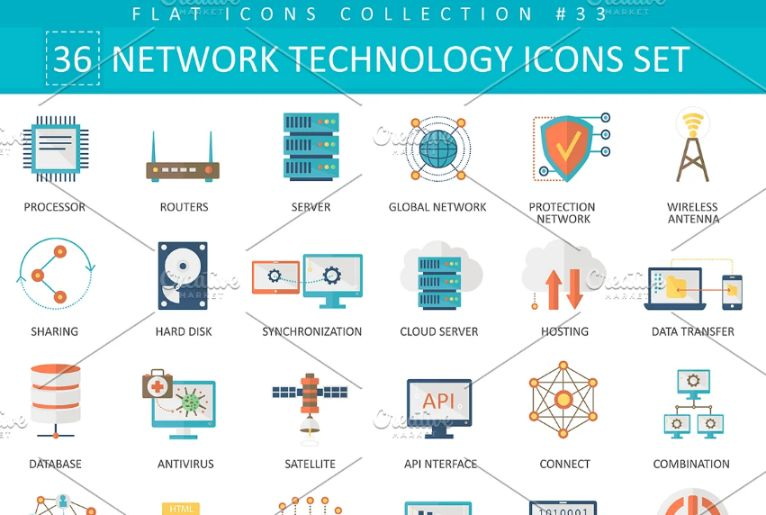 36 Networking Icons Set