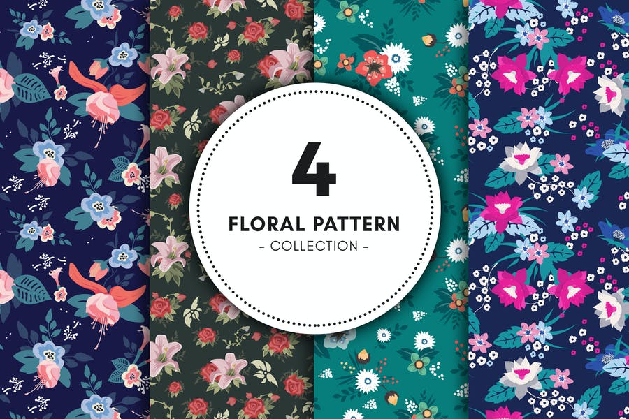 4 High Quality Floral Backgrounds