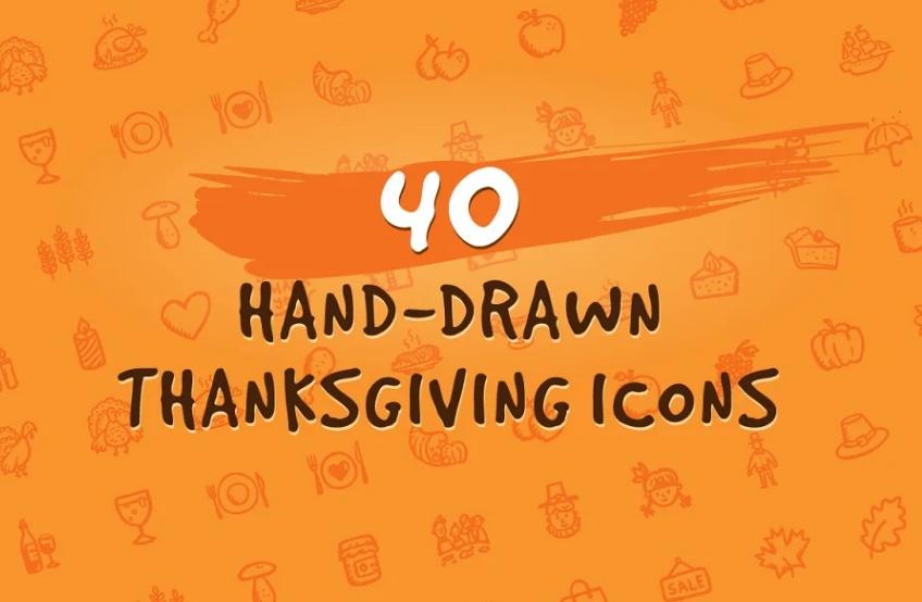 40 Unique Hand Drawn Icons Set