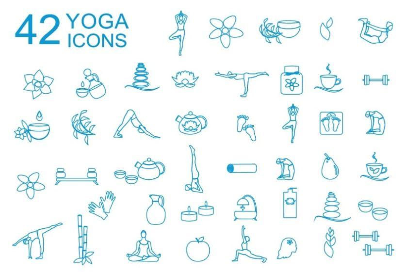 42 Creative Yoga Icons Set