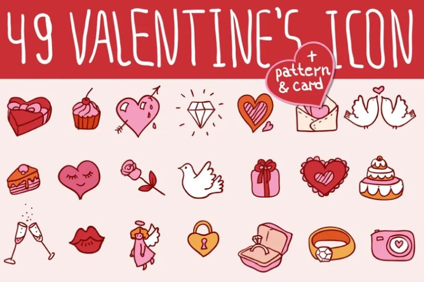 49 Valentines Day Doodle Icons