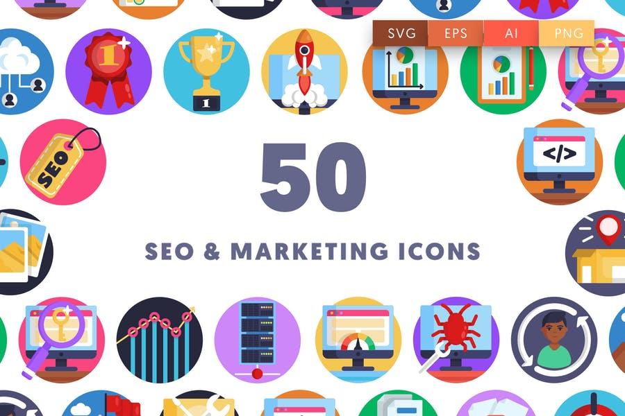 50 Marketing Icns Set
