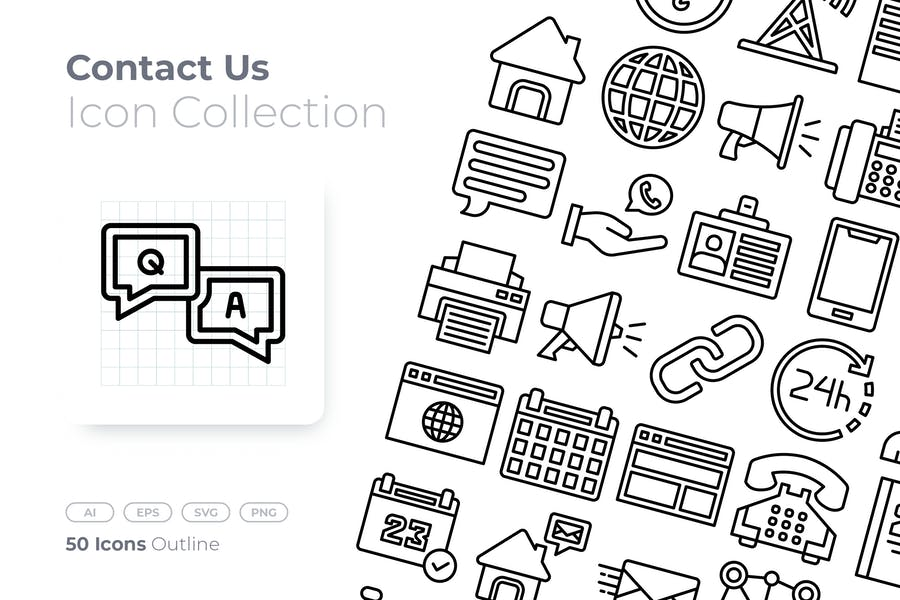 50 Outline Icons Set