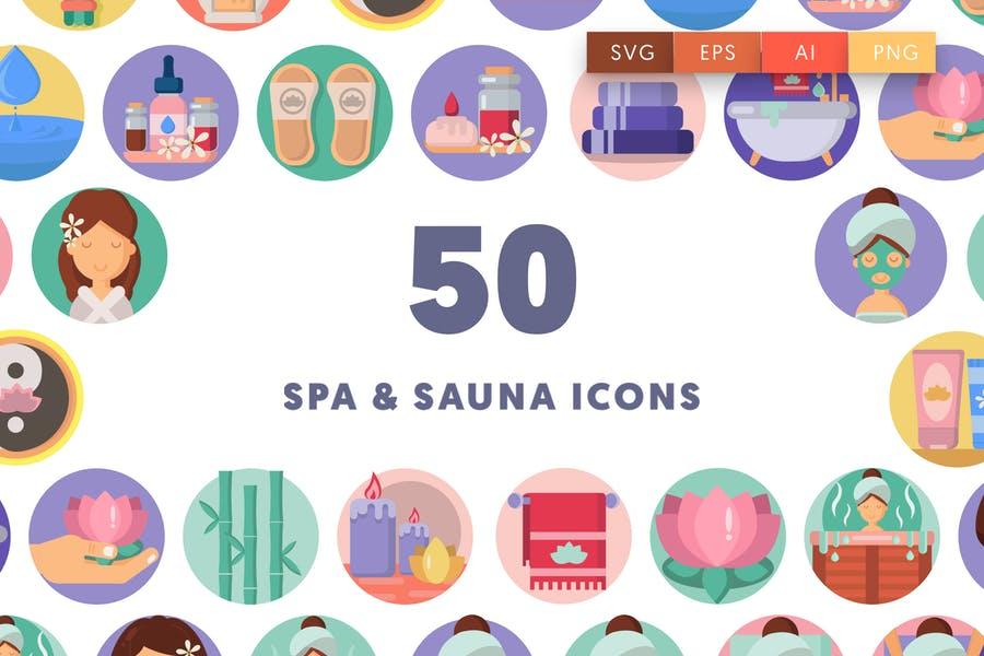 50 Spa and Sauna Icons Set
