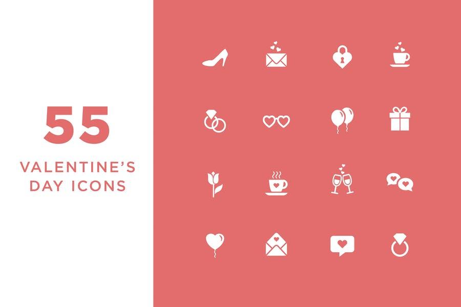 55 Valentines Day Icons