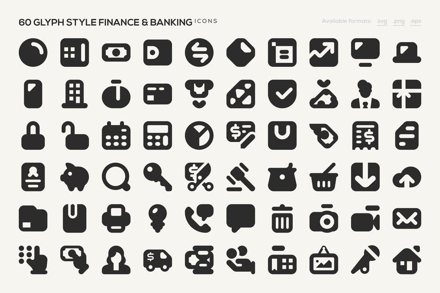 60 Glyph Style Icons