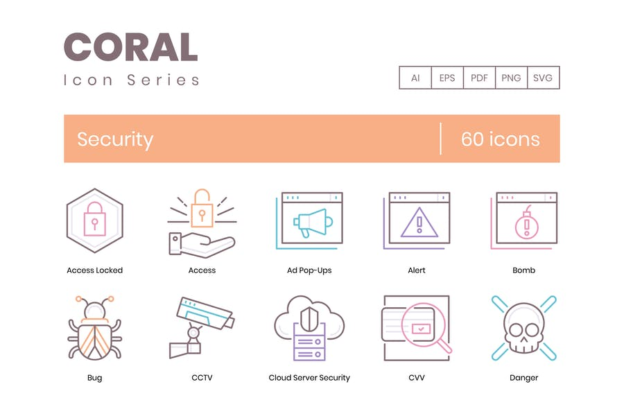60 Security Line Icons