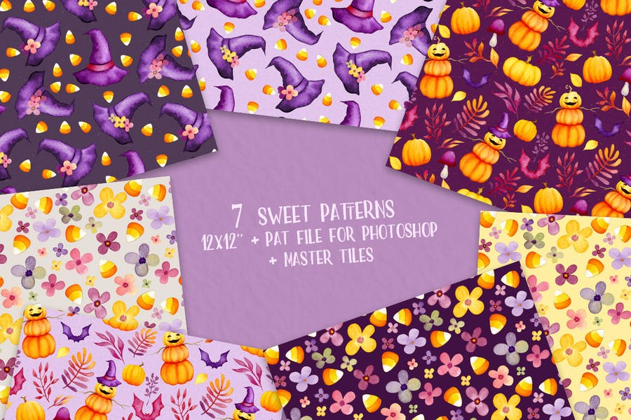 7 Watercolor Style Seamless Patterns