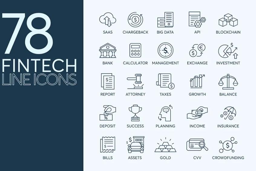 78 Fintech Line Icons