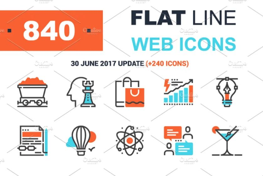 840 Flat Web Icon Designs