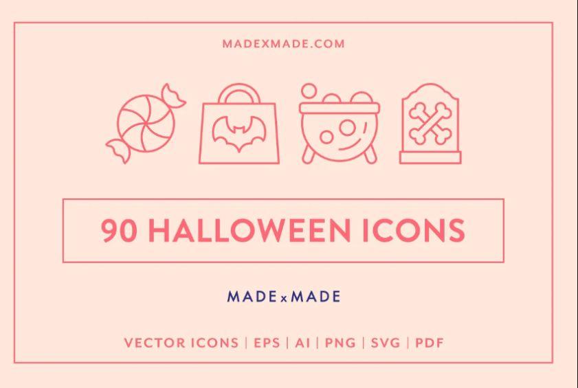 90 Unique Halloween Icons Set