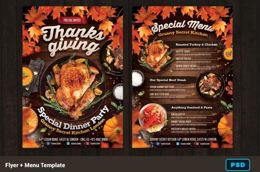 A4 Thanksgiving Flyer Template Design