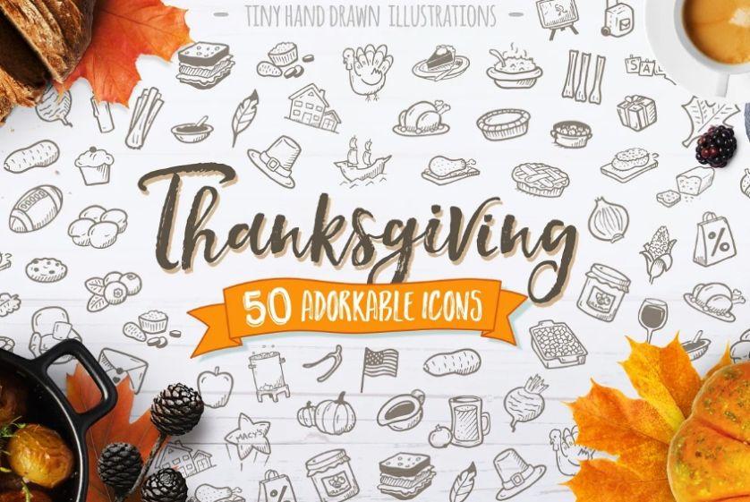 Adorable Thanksgiving Icons Set