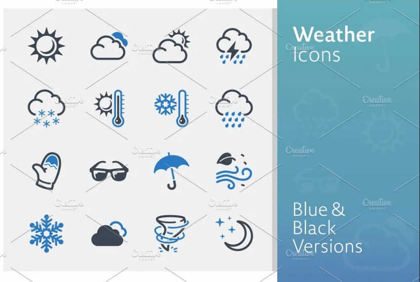 Blue and Black Icon Set