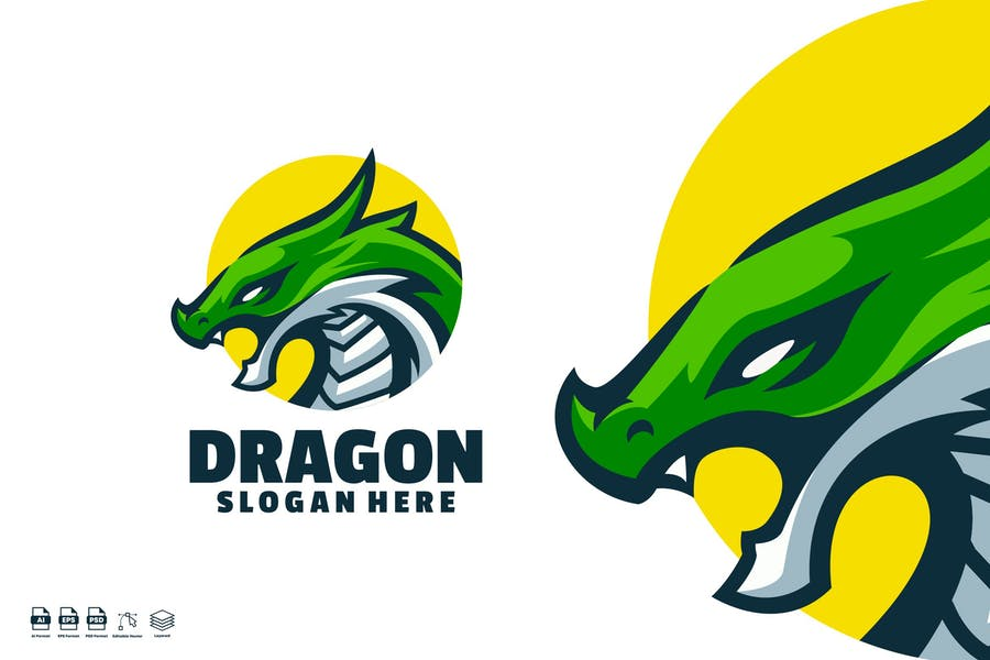 Circular Dragon Head Identity Design