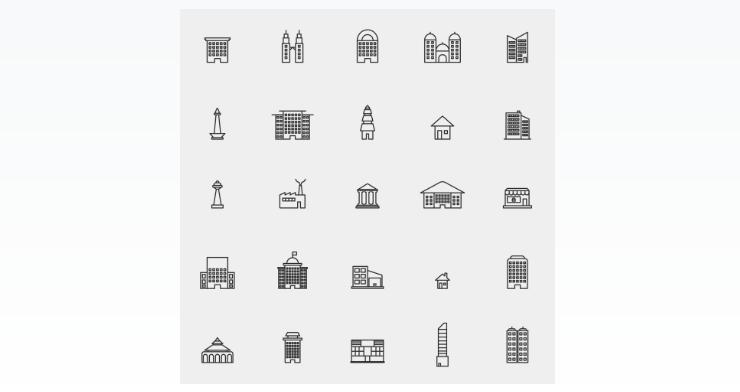 City Buildings Line Icons