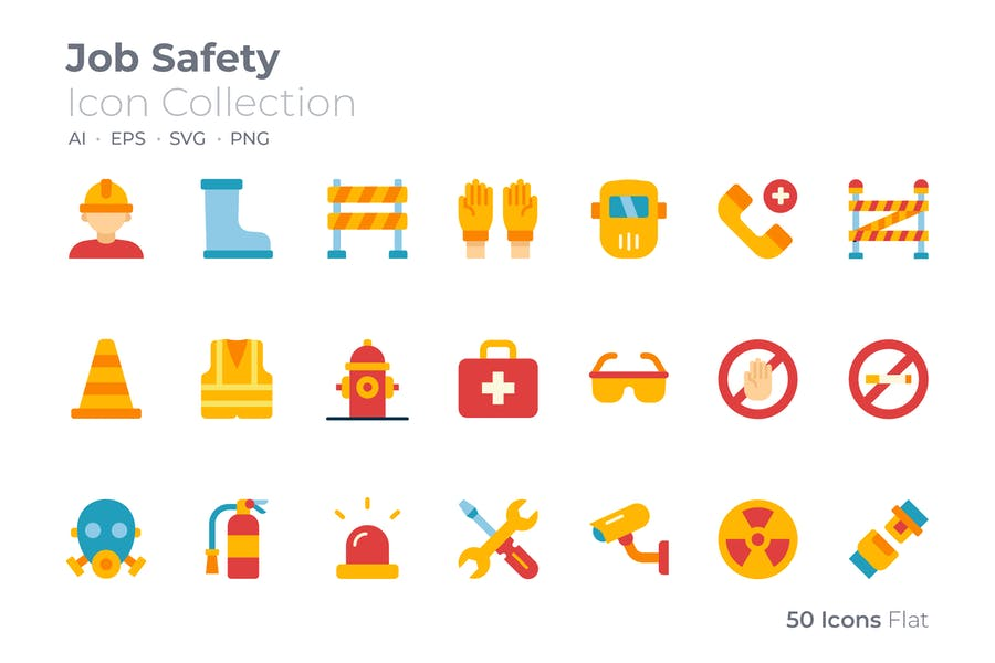Colored Job Safety Icons Vector