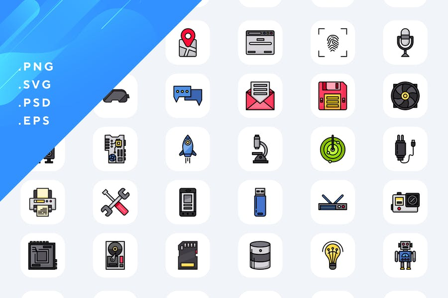 Colored Professional Icons Set